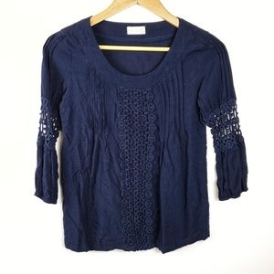 Altar'd State | Navy Blue 3/4 Sleeve Blouse XS